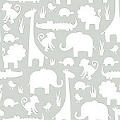 Its A Jungle In Here Grey Wallpaper