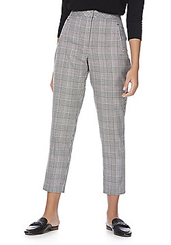 F&F Houndstooth Ankle Grazer Slim Leg Trousers - Grey