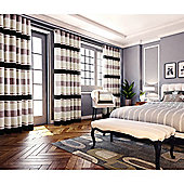 Pimlico Striped Chenille Eyelet Lined Curtains - Beige
