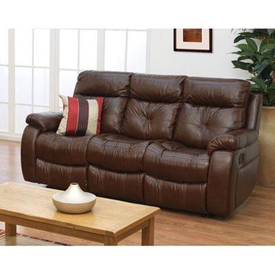Furniture Link Triesta Three Seat Reclining Sofa in Brown