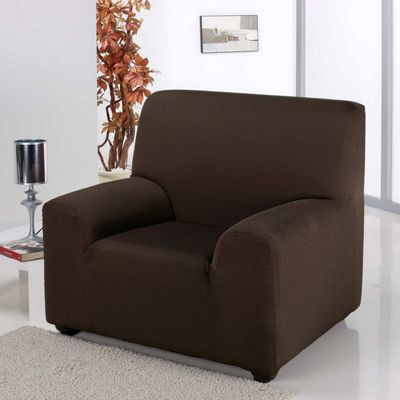 Homescapes Single Seat Armchair Cover Elasticated Slipcover Protector, Chocolate Brown