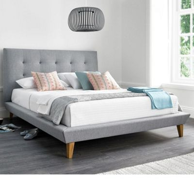 Happy Beds Marietta Fabric Upholstered Bed - Grey - 5ft King