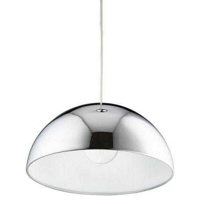 DOMAS 1 LIGHT DOME PENDANT WHITE INNER, CHROME OUTER
