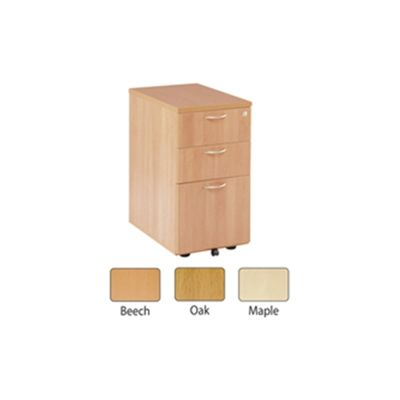 Jemini 3-Drawer Desk High Pedestal 600mm Maple KF72071