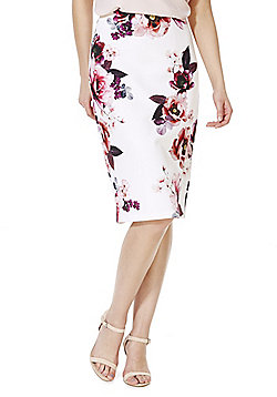F&F Rose Print Scuba Pencil Skirt - Cream & Pink