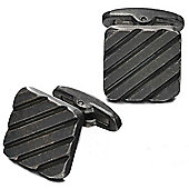 Fred Bennett Square Ribbed Stainless Steel Cufflinks with a Worn Dark Grey IP Plated Finish - V533
