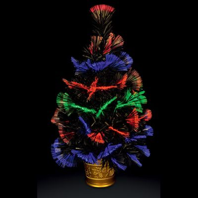 Premier 60cm Battery Operated Fibre Optic Multi-Colour Switching Table Top LED Christmas Tree - Black with Gold Base