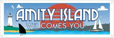 Amity Island Welcomes You Slim Tin Sign 30.5 x 10.1cm