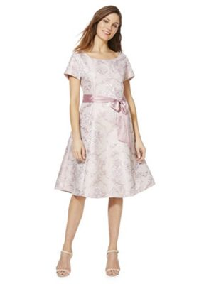 Solo Metallic Jacquard Dress with Belt Pink 16