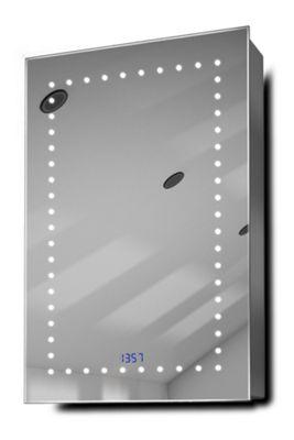 Elora Clock LED Bathroom Cabinet With Demister Pad, Sensor & Shaver k383