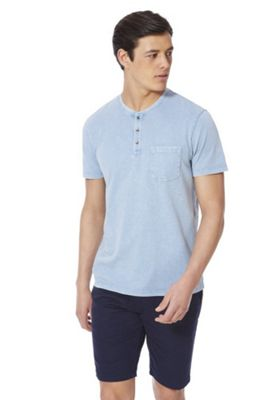 F&F Acid Wash Grandad Collar T-Shirt Blue L