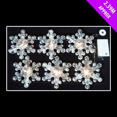 6 x 15cm Battery-Operated LED Snowflake Lights - Warm White