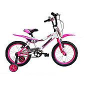 """Tiger 88 Moto Girls 16"""" Bike White Pink"""