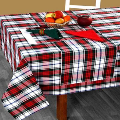 Homescapes Cotton Christmas Macduff Tartan Tablecloth, 54 x 90 Inches