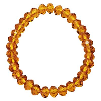 Yellow Glass Bead Stretch Bracelet