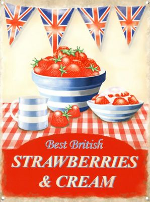 Strawberries & Cream Best of British Tin Sign