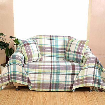 Homescapes Green Tartan 100% Cotton Falun Throw with Tassels, 150 x 200 cm