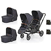 ABC Design 2017 Zoom Tandem, 2x Carrycots & 2x Multi Car Seat Adapters (Street)