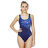 Zoggs Swimshapes Body Shaping Paisley Print Swimsuit - Navy