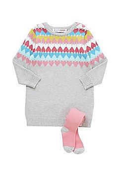 Minoti Heart Knit Jumper Dress and Knitted Tights Set - Grey