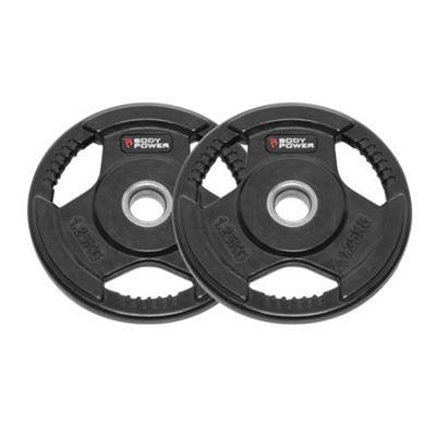 Body Power Rubber Enc Tri Grip Standard (1 Inch) Weight Disc Plates - 1.25Kg (x2)