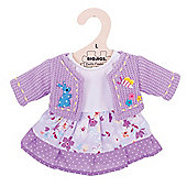 Bigjigs Toys Lilac Rag Doll Dress and Cardigan for 38cm Soft Doll with Additional Matching Scarf
