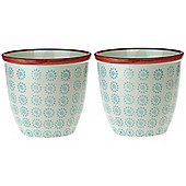 Patterned Plant Pot. Porcelain Indoor / Outdoor Flower Pot - Turquoise / Red Swirl Design - Box of 2