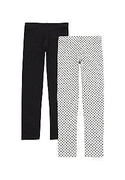 F&F 2 Pack of Polka Dot and Plain Full Length Leggings - Black & Grey