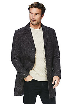 F&F Speckle Textured Overcoat - Charcoal grey