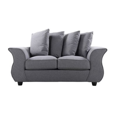 Sofa Collection Helena Herrigbone Fabric 2 Seat Sofa - Medium Grey