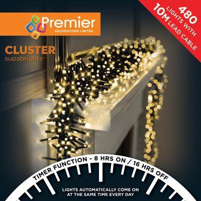 Premier 480 Multi Action Cluster LED Lights with Timer - Warm White