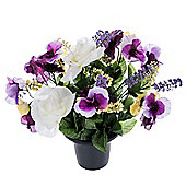 Homescapes Cream, Lilac and Purple Artificial Flowers Pansy and Rose Grave Vase