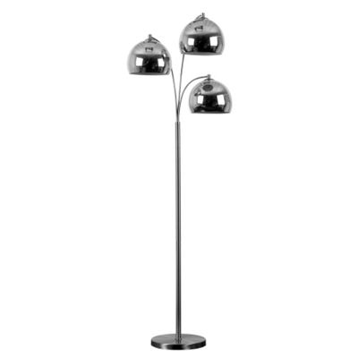 Dantzig 3 Arm Floor Lamp Base Brushed Chrome with Chrome Shades