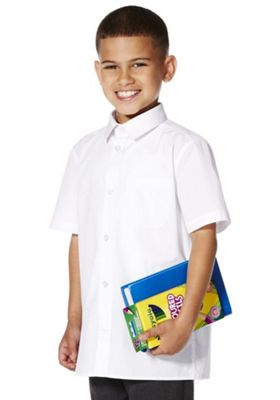 F&F School 2 Pack of Boys Easy Care Short Sleeve Shirts 6-7 years White