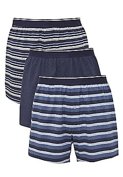 F&F 3 Pack of Striped Jersey Boxer Shorts - Blue