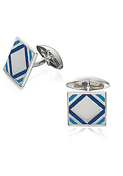 Fred Bennett Sterling Silver & Two Tone Blue Epoxy Square Cufflinks
