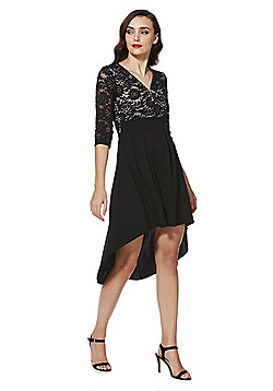 Mela London Tassel Zip Lace High-Low Dress - Black