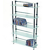Maxwell - 5 Tier Dvd / Blu-ray / Cd / Media Storage Shelves - Frosted