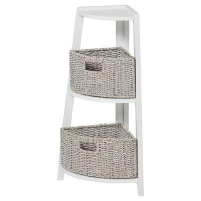 3 Tier Bathroom Corner Unit with Seagrass Storage Baskets, White