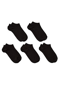 F&F 5 Pair Pack of Fresh Feel Trainer Liners - Black