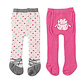 Baby Annabell Tights 2 Pack - Polkadot & Little Lamb Design