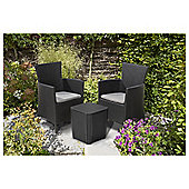 Keter Iowa Rattan Effect Bistro Set, Graphite