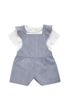 F&F T-Shirt and Cross-Back Dungarees Set Blue/White Tiny baby