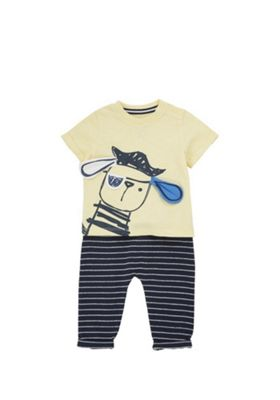 F&F Pirate Puppy T-Shirt and Joggers Set Yellow/Navy 12-18 months