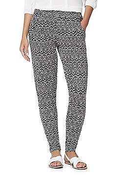 F&F Monochrome Print Jersey Tapered Trousers - Black & White
