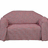 Homescapes Red Houndstooth 100% Cotton Bedspread Throw, 255cm x 360cm
