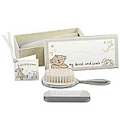 Button Corner Baby Silver Plated Brush & Comb