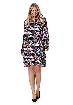 Junarose Floral Long Sleeve Plus Size Dress - Black