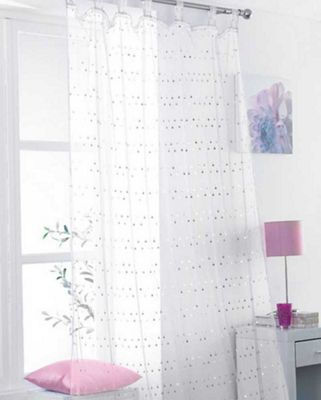 Daisy Sequin Voile - White