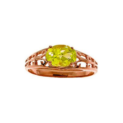 QP Jewellers 1.15ct Peridot Catalan Filigree Ring in 14K Rose Gold - Size H